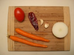 Shown here are some of the ingredients for the sauce.  The carrots are cooked with the shrimp and rice.