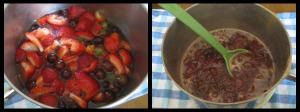 before & after of fruit in sauce pan