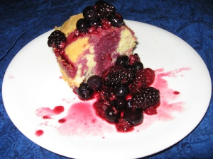 slice of cake with fruit