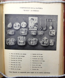 16 piece set of aluminum cookware. La Cocina de la Vasconia [194?]
