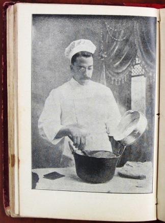Chef stirring batter (120). El Verdadero Práctico: Manual para las Familias (191?) by Alejandro Pardo