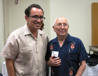 Gustavo Arellano, author of Taco USA, and Roy G. Martinez, grandson of the founder of Tamalina Milling Company