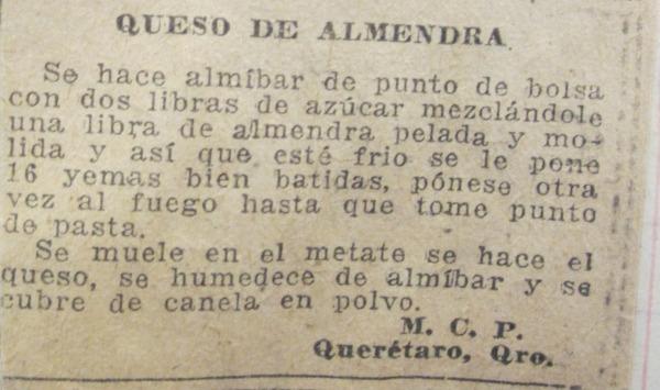 Queso de Almendra recipe from Recipe scrapbook : Huamantla, Tlaxcala, Mexico (1920s).