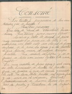 Recetas de Cocina por mi Profesor Sr. H. Winder (1904) by Paulina Morante. UTSA Libraries Special Collections.