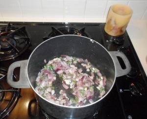 sautéing onions and garlic