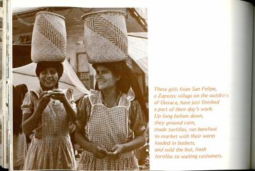 Girls from San Felipe carrying baskets. Photograph of Market in Oaxaca (28). The Mexican Cook Book (1971) by George and Inger Wallace. UTSA Libraries Special Collections.