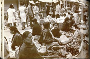 Photograph of Market in Oaxaca (28). The Mexican Cook Book (1971) by George and Inger Wallace. UTSA Libraries Special Collections.