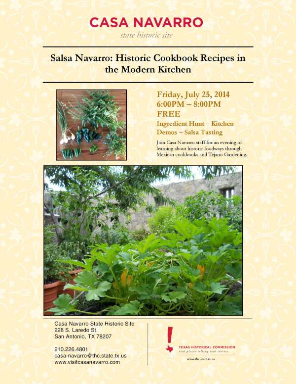 Salsa Navarro Event Flyer. 6-8pm on July 25th at Casa Navarro Historic Site