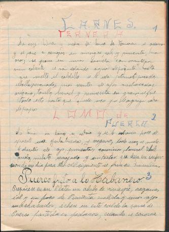 Libreta de Recetas de Cocina. Manuscript cookbook written by Aurora Vélez Orozco G., circa 1911. TX716 .M4 V462 1911. Mexican Cookbook Collection. UTSA Libraries Special Collections.