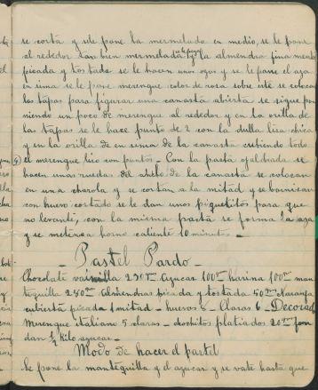 ibreta de Cocina Manuscript Cookbook by María de los Angeles Dávalos. San Luis Potosí: 1921-1951. UTSA Libraries Special Collections.